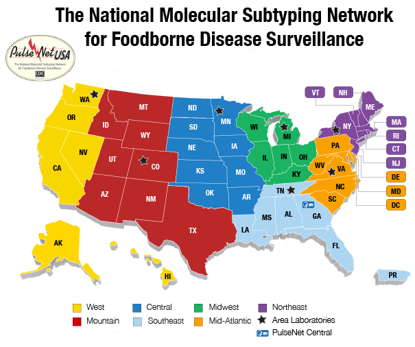 Map of the National Molecular Subtyping Network for Foodborn Disease Surveillance